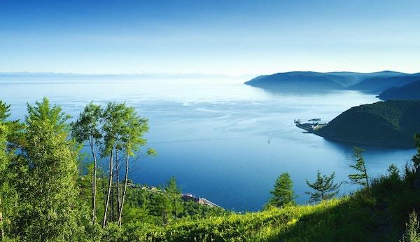 Panoramautsikt over Baikal-sjøen med trær, vann og himmel. Den øverste tredjedelen av bildet er blå himmel som er mørkest på toppen og blir lysere, nesten hvit, når den møter innsjøen. Innsjøen utgjør den midterste tredjedelen av bildet. Vannet er mørkeblått med en lys hvit refleksjon nær midten av bildet. Den nederste tredjedelen av bildet består av vegetasjon. Det er høyere trær nær venstre side av bildet, og det er gress i forgrunnen. Det er noen få landformasjoner på høyre side av bildet.