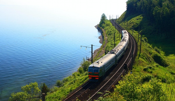 Russland. Den sørlige bredden av innsjøen Baikal.