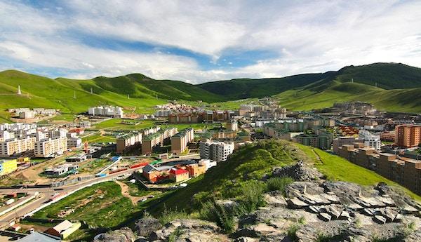 Panoramautsikten over hele byen Ulaanbaatar, Mongolia