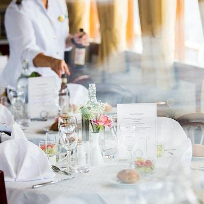 bord, glass, servietter