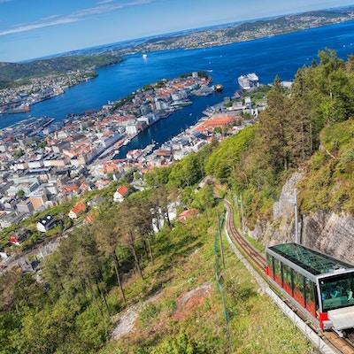 Utsikt fra Floyen med heis i Bergen Norge