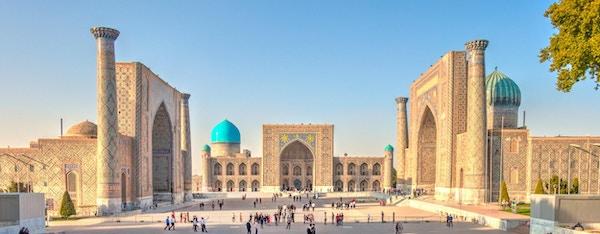 Den berømte Registanplassen i Samarkand, Usbekistan