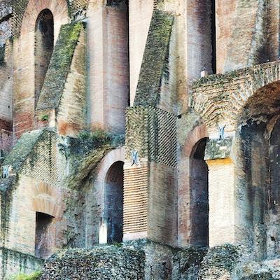 Arkitektonisk detalj av Palatine Hill-komplekset på Forum Romanum i Roma, Italia.