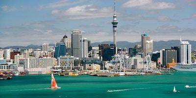 Sunny Clear Skyline of Auckland, New Zealand