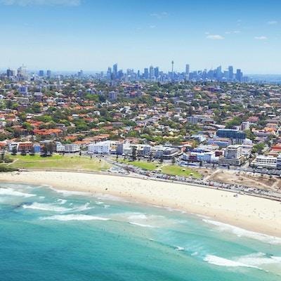 Luftfoto av Bondi-stranden ved Sydney Australia