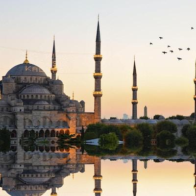 Den blå moskeé i solnedgang