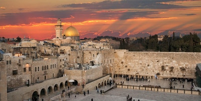 Western Wall at the Dome Of The Rock på Temple Mount i Jerusalem, Israel