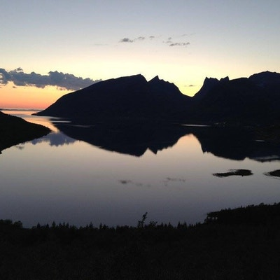 Utsikt mot fjorden i solnedgang på Senja.