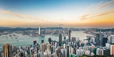 Hong Kong skyline ved solnedgang