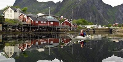 hav, kajakk, natur, hus, fjell