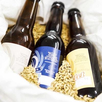 Tre ølflasker fra lokale bryggeri på Hitra liggende i havre