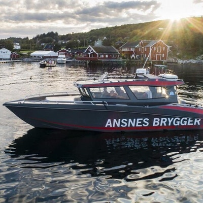 Båt passerer brygger