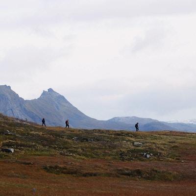 Tre mennesker på fjelltur.