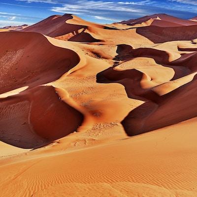 ørkenen av namib med oransje sanddyner.