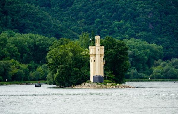 Musetårn i Rhinen ved Bingen, Tyskland.