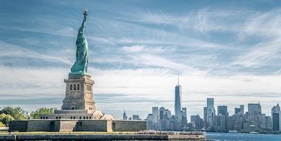 Frihetsgudinnen og Manhattan, New York City, USA