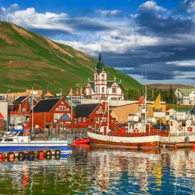 Husavik på nordkysten av Island