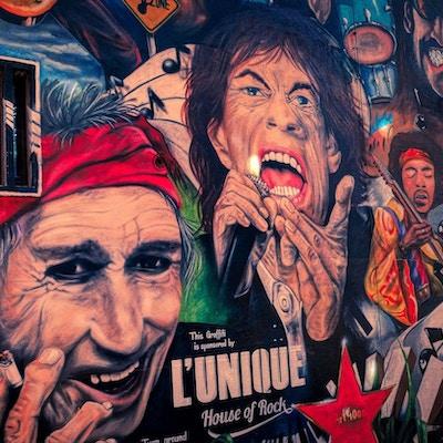 Veggmaleri i Basel og Rolling Stones og andre rockemusikere.