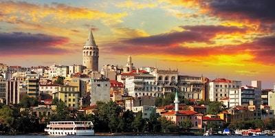 Istanbul ved solnedgang - Galata-distriktet, Tyrkia