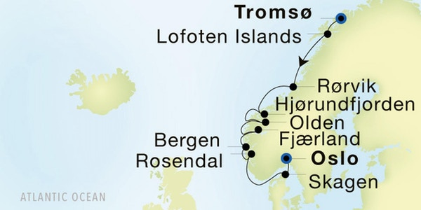 Kart Seadream Oslo-Tromsø 2021