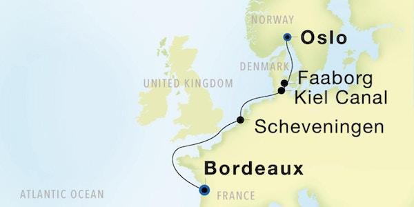 Kart Seadream 2021 Oslo-Bordeaux