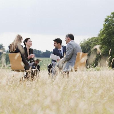 Fire mennesker på stoler i en eng