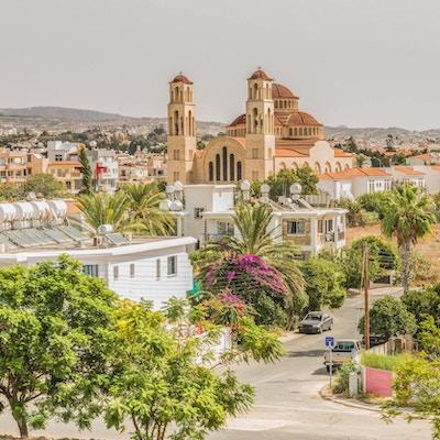 Utsikt over byen Paphos, Kypros.