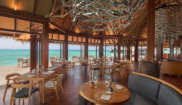 INteriør av strandrestaurant på Maldivene.