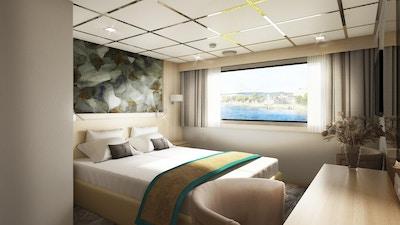 Lugar med dobbeltseng på hoveddekket ombord på MS Vivienne