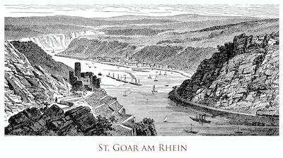 Tresnitt av Rhinen og St. Goar