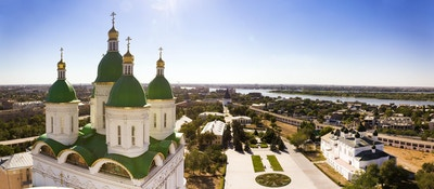 Panoramautsyn mot byen Astrakhan, Russia
