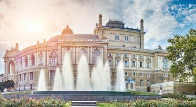 Panoramautsikt over Opera og Ballet Theatre i Odessa, Ukraina.