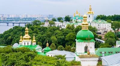 Utsyn mot Kiev Pechersk Lavra, det ortodokse klosteret på UNESCOs verdensarvliste.