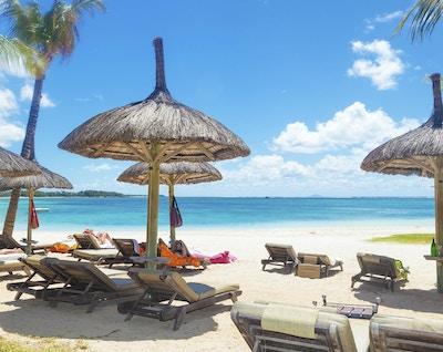 perfekt sted å hvile på stranden med halmparaplyer palmer og lange stoler
