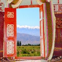 Telt langs Silkeveien.