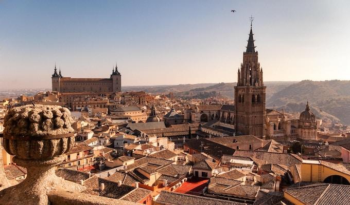 Generell utsikt over gamlebyen i Toledo Spania