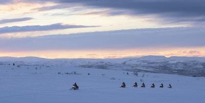 Syv snøskutere kjører på rekke over Finnmarksvidda i solnedgang