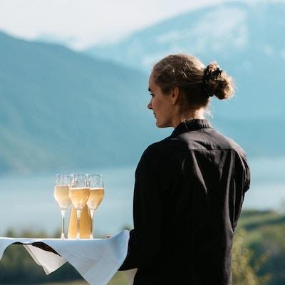Menneske, natur, servering drikke