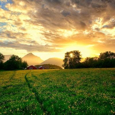 Sol og landskap på Senja.