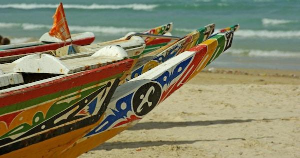 Typiske lokale uthulede trestamme-kanoer, Senegal.