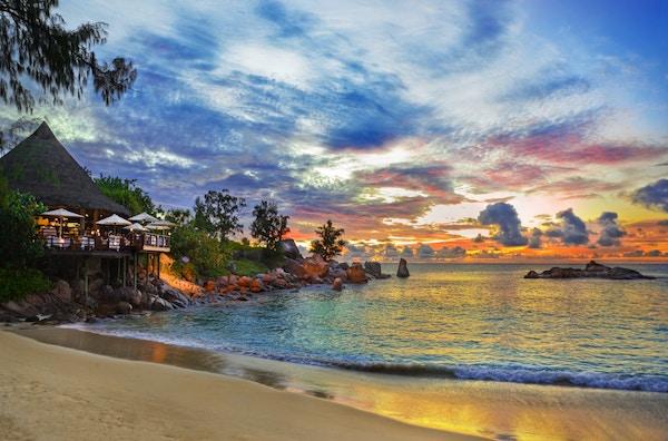 Solnedgang på Seychellene