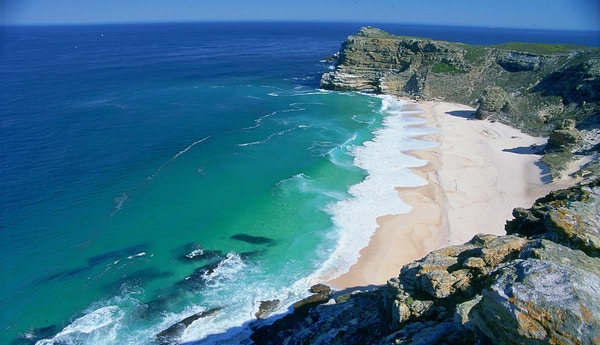 Strand ved Cape Point i Sør-Afrika.