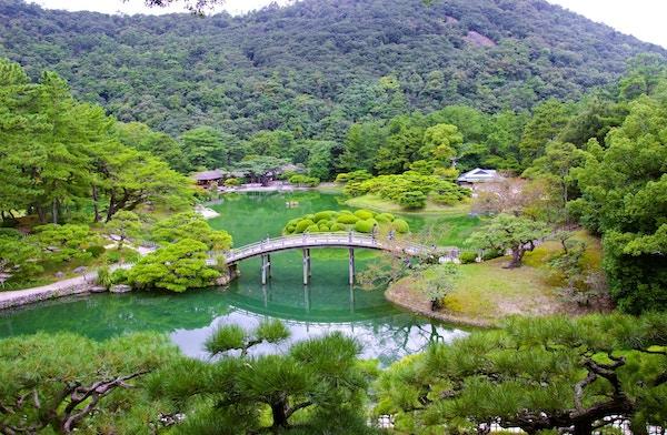 Ritsurin-hagene i Japan.