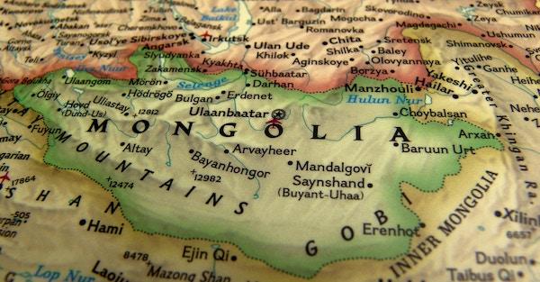 Kart over Mongolia.