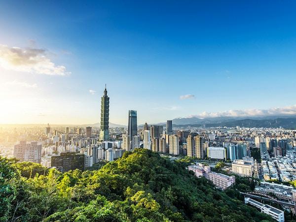 Oversiktsbilde over Taipei, Taiwan.