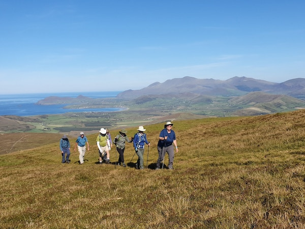 Approaching the summit of Mount Eagle at the western tip of the Dingle Peninsula with sacred Mount Brandon behind