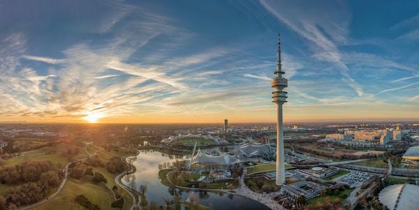 Oversiktsbilde over Olympiaparken i München.