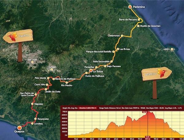 Kart som viser El Camino-rute på  Costa Rica.