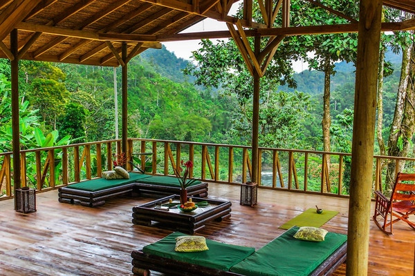 Balkon med utsikt i Costa Rica Pacuare Outdoor Center