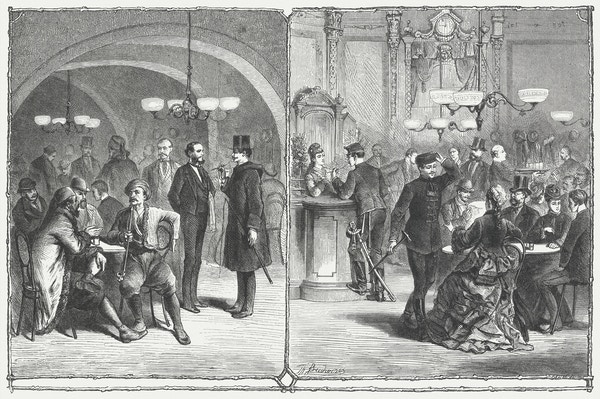 Tegning av wienerkafé fra 1800-tallet.